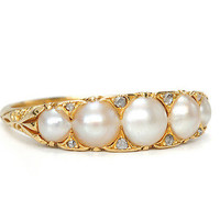 Nature's Wonder - Antique Natural Pearl Ring - The Three Graces