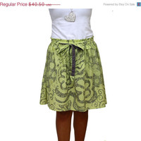 Valentine Sale Spring Fashion Skirt / Sage Green and Grey Midi Skirt with Sash Belt / Ready to Ship