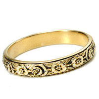 Flowery Design on a Simple Band of Gold  - The Three Graces