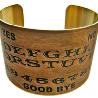 Ouija Board brass cuff bracelet Halloween jewelry Free  Shipping