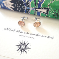 Lord of the Rings 'Not All Who Wander' Compass Cufflinks