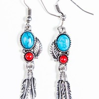 Stoned Silver Leaf Earrings