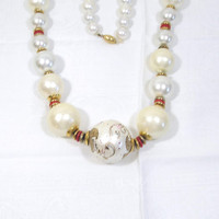 Vintage Necklace Large Beads Hand Painted Long Red White Gold