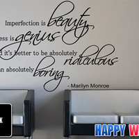 Marilyn Monroe Wall Decal Vinyl Sticker Quote Art Decor Imperfection is Beauty
