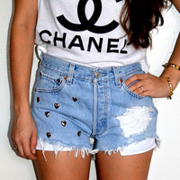 Vintage Studded Levi's Queen Of Hearts High Waisted Denim Shorts