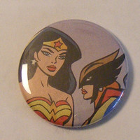 "Comic Book 1.5"" Button// Wonder Woman and Hawkgirl"