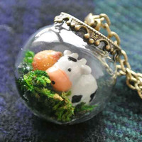 10 SALE Necklace Terrarium Kawaii Moo Cow and by timegemstone