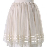 Triple Layers Tulle Skirt with Lace Tirm