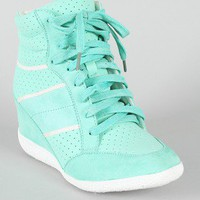 Bamboo Bethany-07 Stripe Lace Up Wedge Sneaker