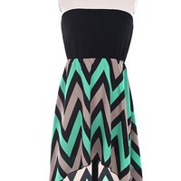 Hi low Chevron Print - Black/Mint