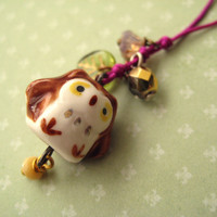 Phone Charm With Cute Porcelain Owl - When Spring Is Here | Luulla