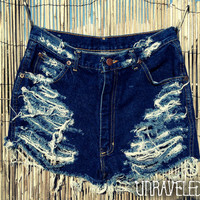 High Wasted Denim Shorts MEDIUM by UnraveledClothing on Etsy