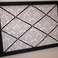 Grey &amp; White Damask fabric ~ Black Wood Framed Memo Board by ToileChicBoutique