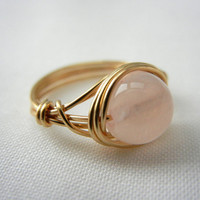 Rose Quartz Ring, Rose Quartz Jewelry, Wire Wrap Ring, Wire Wrapped Jewelry Handmade, Pale Pink Stone