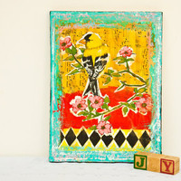 Bird Wall Decor - Original Mixed Media Painting