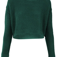 Knitted Textured Stitch Crop Jumper - Knitwear - Clothing - Topshop USA