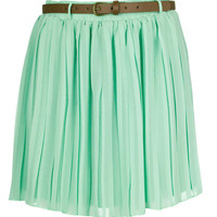 Mint Pleated Chiffon Mini Skirt - Clothing - desireclothing.co.uk