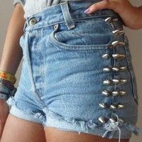 Spike Studded Light Blue Denim Shorts from StuddedSouls