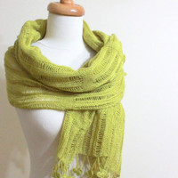 Shawl RECTANGLE Yellow Green Knitting Cool Scarf by filofashion