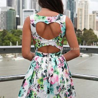 HEART CUT OUT FLORAL DRESS   , DRESSES,,Minis Australia, Queensland, Brisbane