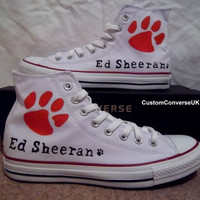Ed Sheeran Converse All Stars WHITE by CustomConverseUK on Etsy