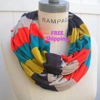 Sale 10% - Color Block Infinity Scarf FREE SHIPPING Retro Scarf Jersey Infinity Scarf Multicolor Stripes Eternity Retro Scarf - By PIYOYO
