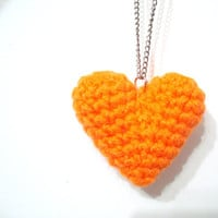 Heart Necklace, Crochet Heart Necklace, Crochet Necklace, Statement Necklace, Gift for Her,