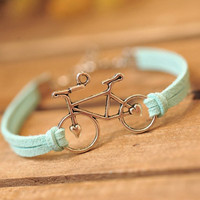 Charm bracelet bike bracelet,retro silver love bike,alloy bracelet, blue leather braid bracelet---B062