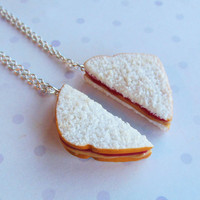 strawberry jam peanut butter and jelly sandwich best friend necklaces polymer clay bff