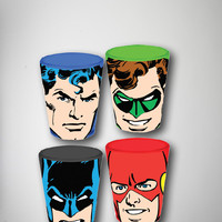 Dc Comics Faces Shot Glass Set 4 Pk