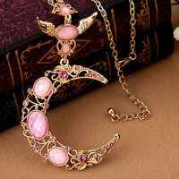 Moon Necklace --Pink Moon such as hook bright sapphire necklace,Crescent Moon Necklace