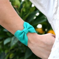Tiffany Blue Leather Bracelet Bow Cuff