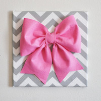 Large Pink Bow on Gray and White Chevron 12 x12&quot; Canvas Wall Art- Baby Nursery Wall Decor- Zig Zag
