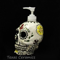 Ceramic Day of the Dead Skull Pump Dispenser All Souls All Saint's Day