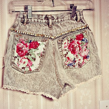 The shy girl. vintage floral bohemian shorts. studs. wild and free. hippy. ombre.