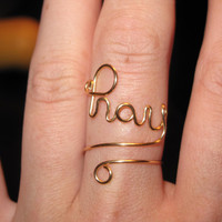 Wire Wrapped PRAY Spelled Gold Adjustable Ring by 1ofAkinds