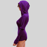 Purple Hooded Top With Extra Long Sleeves/ by MIRIMIRIFASHION