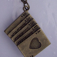 Poker card Necklace - antique Brass
