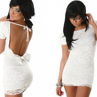Vixen Boutique — Lace Back Open Bow Dress
