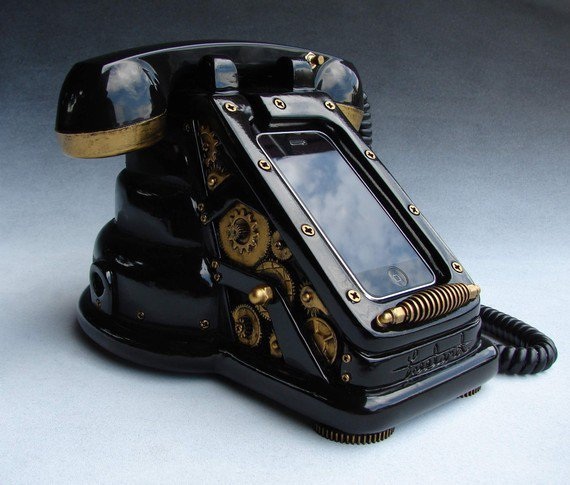 iRetrofone Steampunk Black/Gold by freelandstudios on Etsy