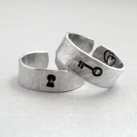 Key to my Heart  Set of TWO Rings Hand Stamped and by emerydrive