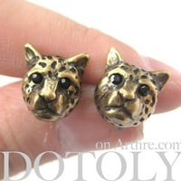 ONE DOLLAR SALE - Cheetah Leopard Tiger Cat Stud Earrings in Bronze