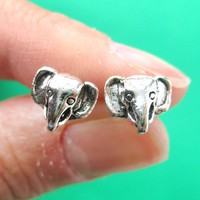 Small Elephant Animal Stud Earrings in Sterling Silver from Dotoly Plus