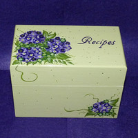 Recipe Box Wood Recipe Card Box Painted Hydrangeas Wooden Personalized Recipe Box Custom Purple