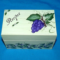 Grapes Recipe Box- Wood Recipe Card Box, Grapes, Decorative Wood Box, Roses, Victorian, Personalized
