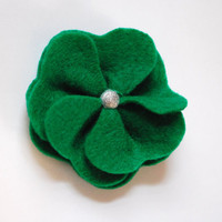 Green Clover Felt Flower Hair Clip Perfect for by PosiesandPetals