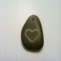 Engraved Rock, Engraved Stone Pendant, Heart Necklace