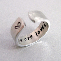 Hammered Secret Message Ring  YOU ARE LOVED Hand by emerydrive