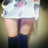 Spiked Over The Knee Socks by PeaceLoveStuds on Etsy