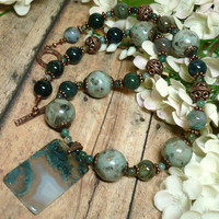Moss Green Druzy Agate Kiwi Jasper Copper Gemstone 19 inch Necklace